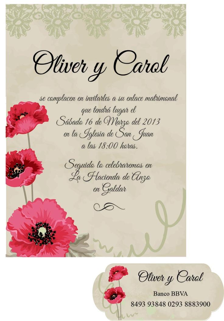 se realizan diseños de invitaciones de boda. Informate en idairaartiles@gmail.com