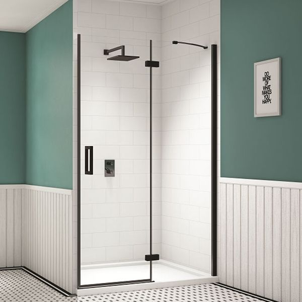 Merlyn Black Inline Recess Hinged Shower Door 1000mm Wide 8mm Glass Shower Doors Black Shower Doors Easy Bathroom Decorating