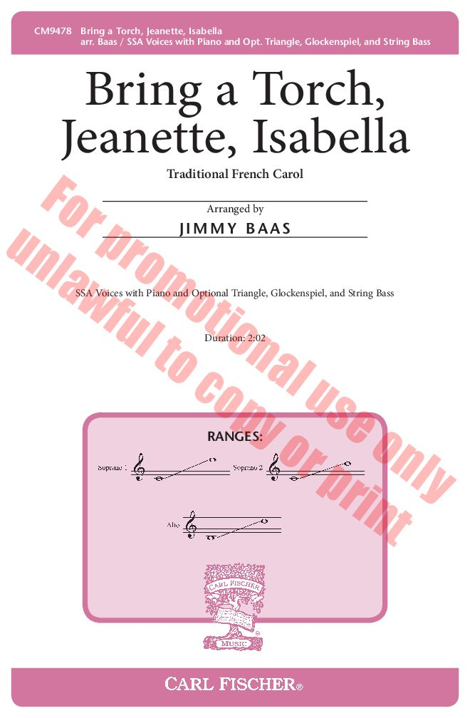 Bring a Torch, Jeanette, Isabella (SSA ) arr | J.W. Pepper Sheet Music