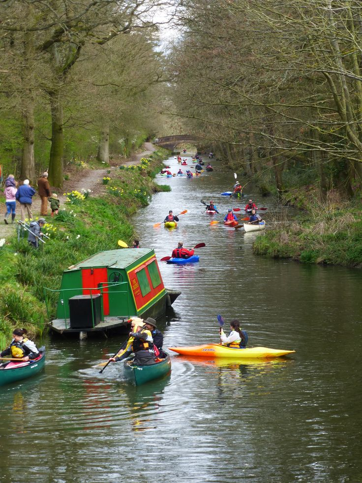 Canoes & kayaks on the summit level of the Wey & Arun canal at Alfold in March 2014