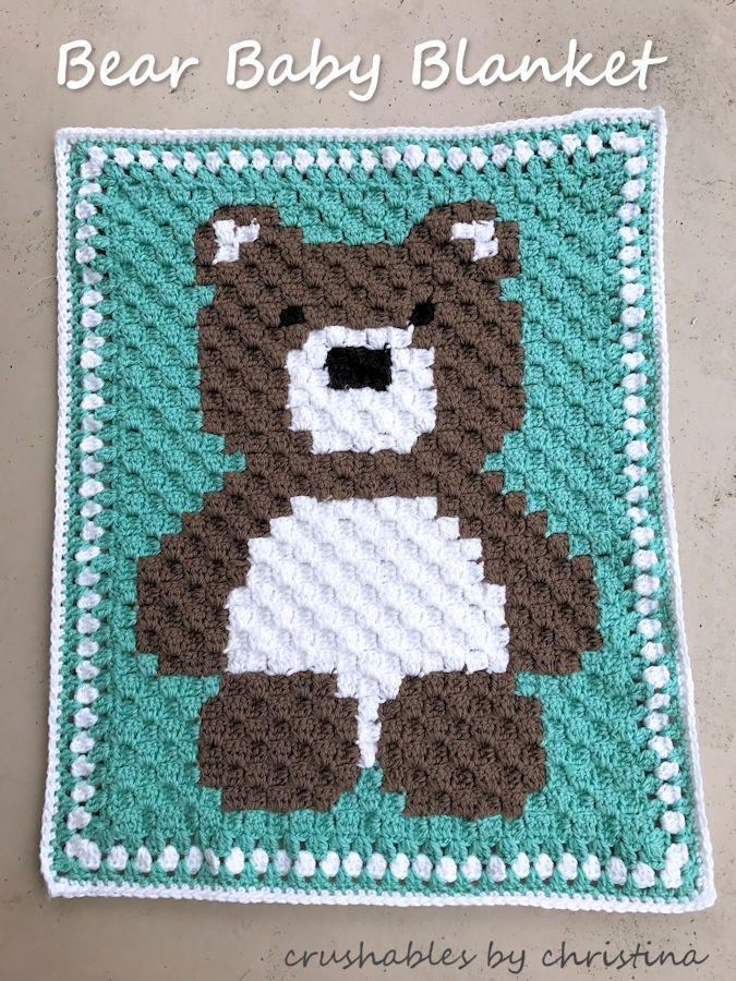 c2c bear blanket. Pattern can be found on repeatcrafterme.com