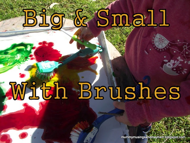 An easy sensory activity with toothbrushes, dish scrubbers and warm cornflour paint to help reinforce the concept of big and small!