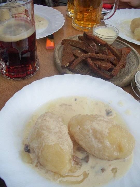 Zeppellini, from Lithuania...And let's not forget the unpasteurized lager and deep-fried rye bread served with horseradish and cheese sauce...