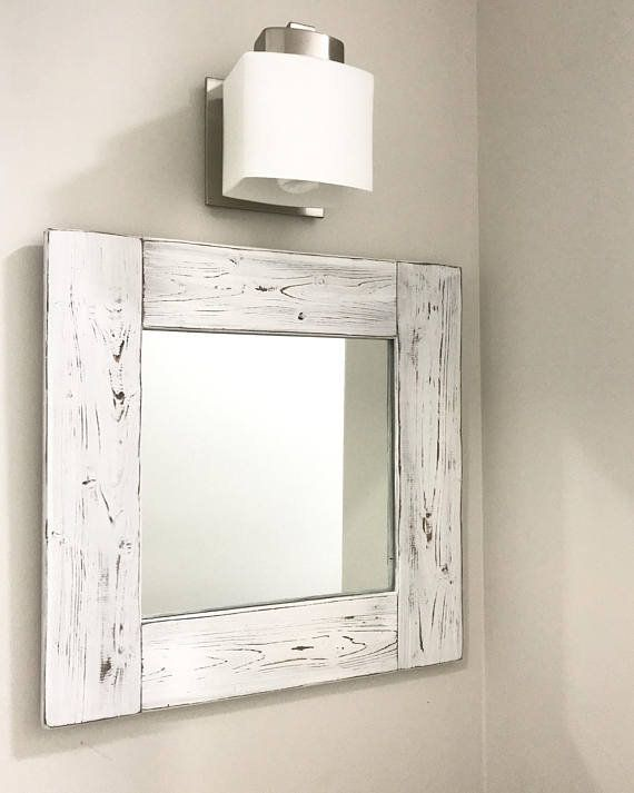 Whitewash Mirror Wood Frame White