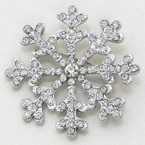 Glamour Girlz Classy Diamante Crystal Snowflake 2 Inch Brooch 92buZ2dgr