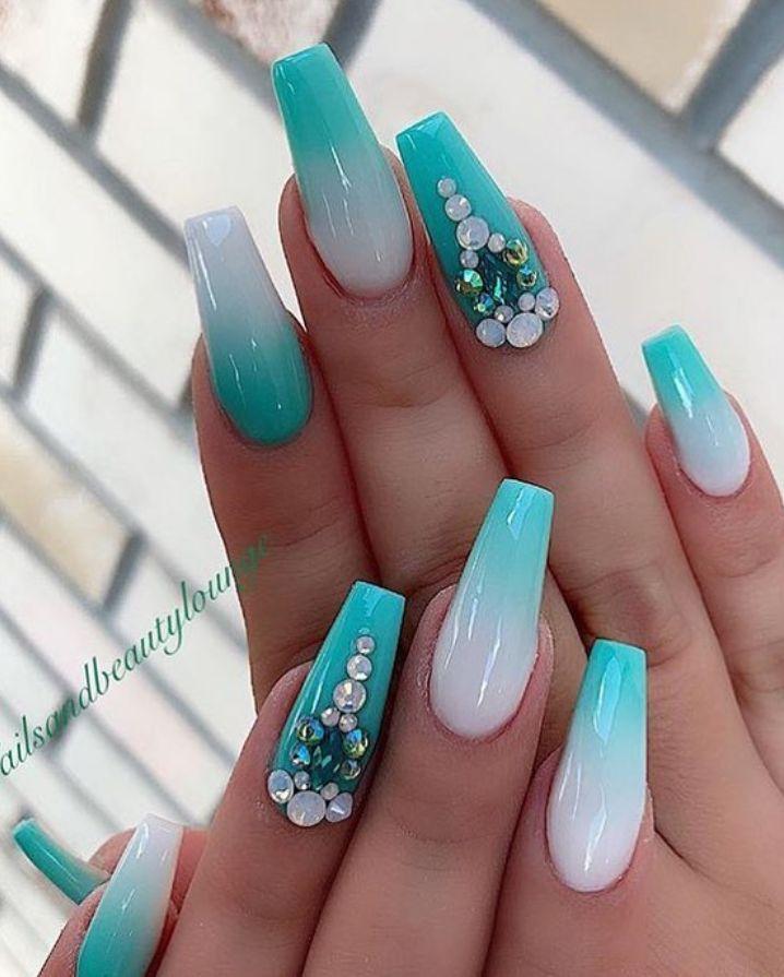 130 Elegant Rhinestones Coffin Nails Designs Nails Design With Rhinestones Rhinestone Nails Summer Acrylic Nails