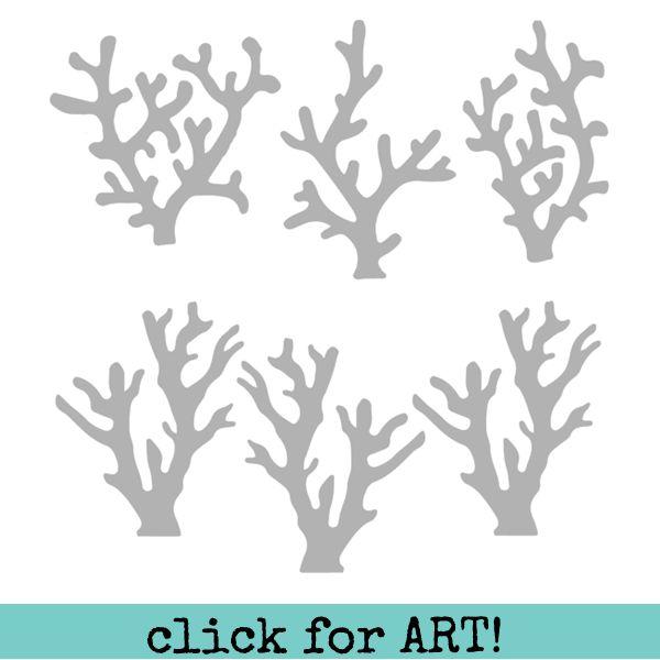 """Beach Stencil Sea Coral 6"""" x 6"""""""