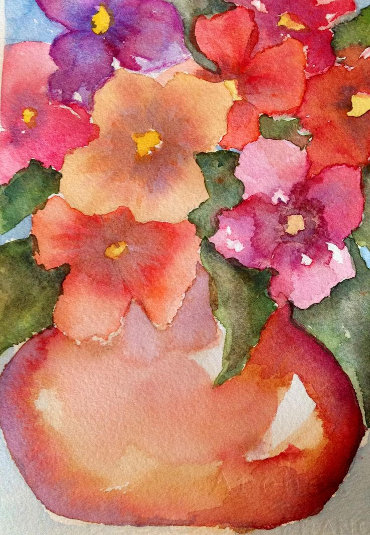 Watercolour Bowl of pansies