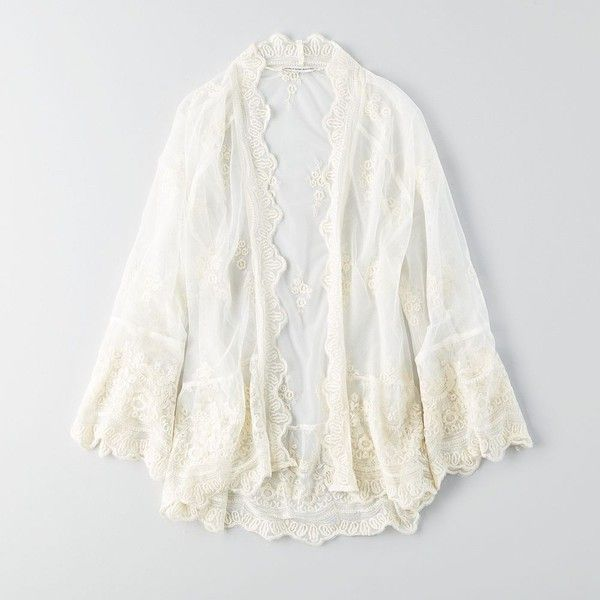 AE Lace + Mesh Kimono ($25) ❤ liked on Polyvore featuring intimates, robes, kimono robe, american eagle outfitters, sheer robe, white robe and sheer kimono