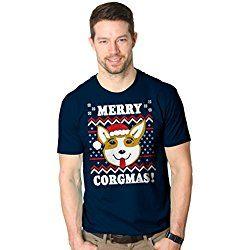 Mens Merry Corgmas Corgi Dog Ugly Christmas Sweater T shirt NAVY -L