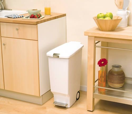 Slimline Kitchen Pedal Bin.  Also comes in black or grey.  Neat, but is it big enough?  And why are bins so very expensive?