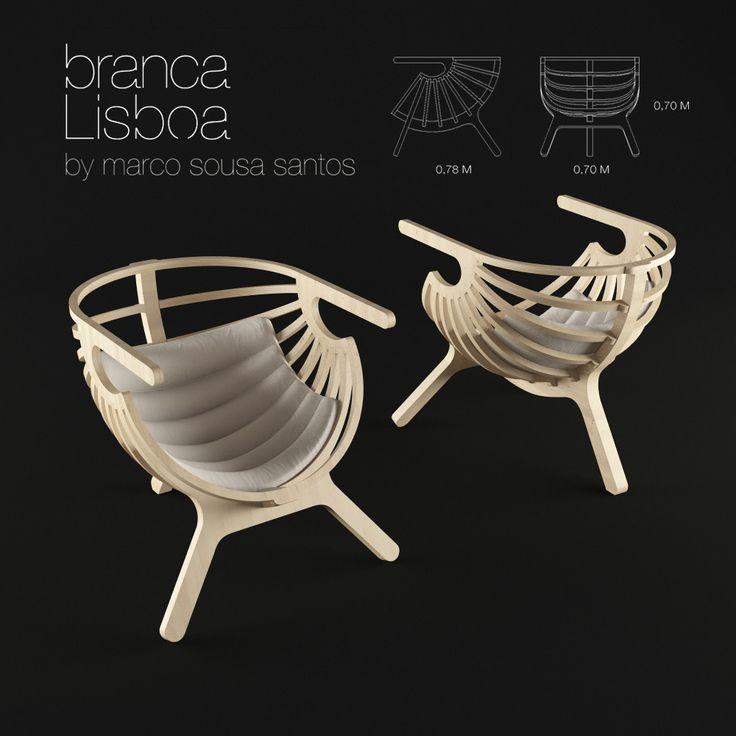 shell lounge chair branca lisboa 3d model