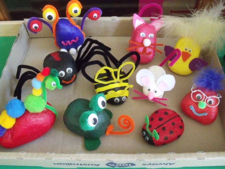 Some of the pet rocks made for the Arts & Craft stall of the school fete.