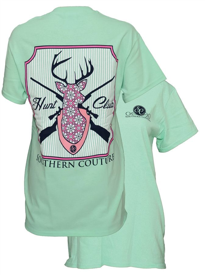Southern Couture Country Preppy Hunt Club Deer Mint Girlie Bright T-Shirt