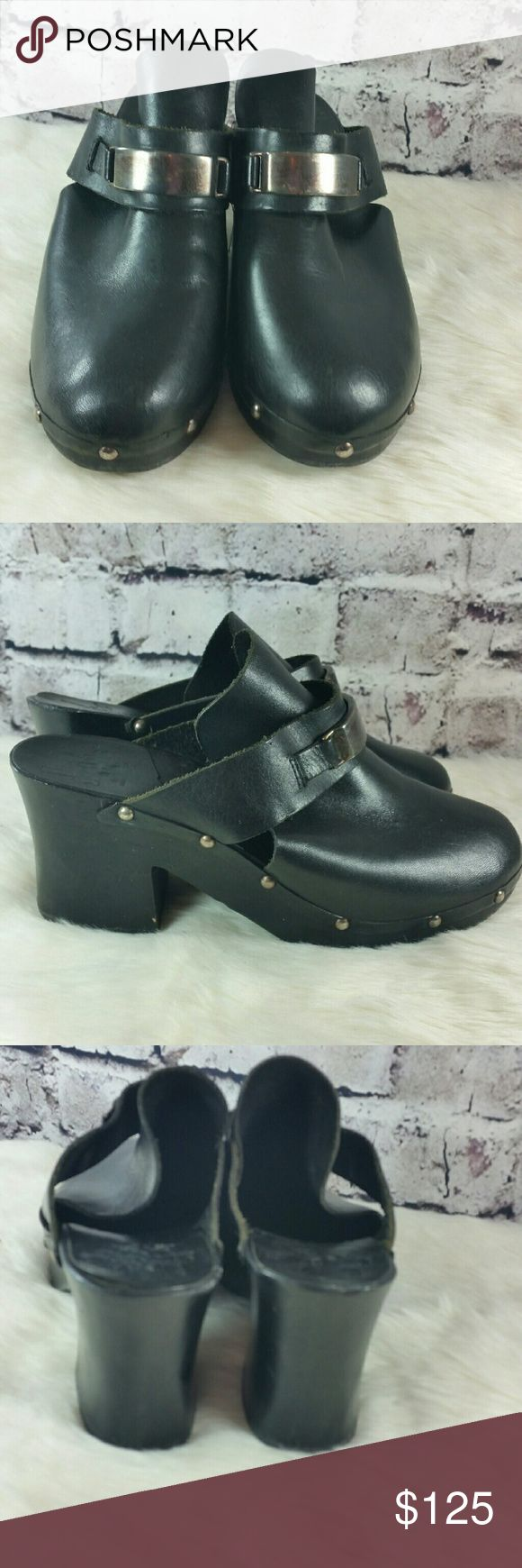 Coming soon Vtg black metal wood sole chunky mules clogs Shoes Mules & Clogs