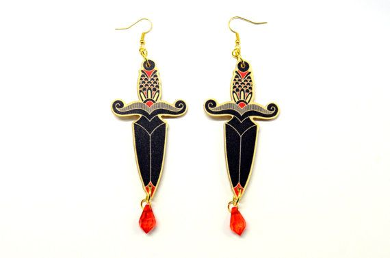 Dagger tattoo dangle earrings traditional tattoo knife for Blood drop tattoo