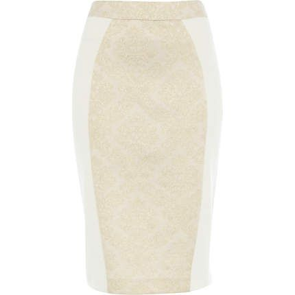 Cream jacquard colour block pencil skirt $60.00