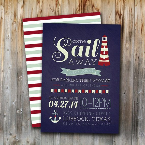 Sailor Birthday Invitation, Printable, Boy, Navy and Red, Nautical, Come Sail Away, Digital File, Invite, 5x7