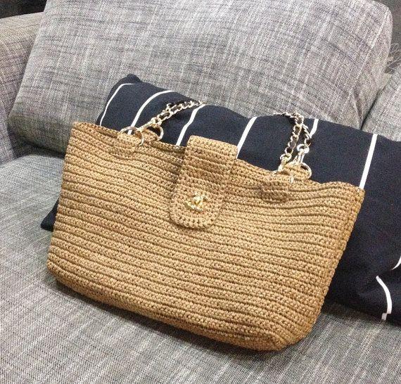 Channel style raffia bag crochet bag crochet by auntieshirley