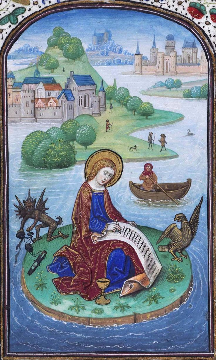 Biblioteca Nacional de España, Cod. Vitr. 24-2,  f. 45v (St John attempts to write his gospel while the Devil empties his ink into the water). Libro de horas de Leonor de la Vega. Bruges, c. 1465-70. Artist: Willem Vrelant.