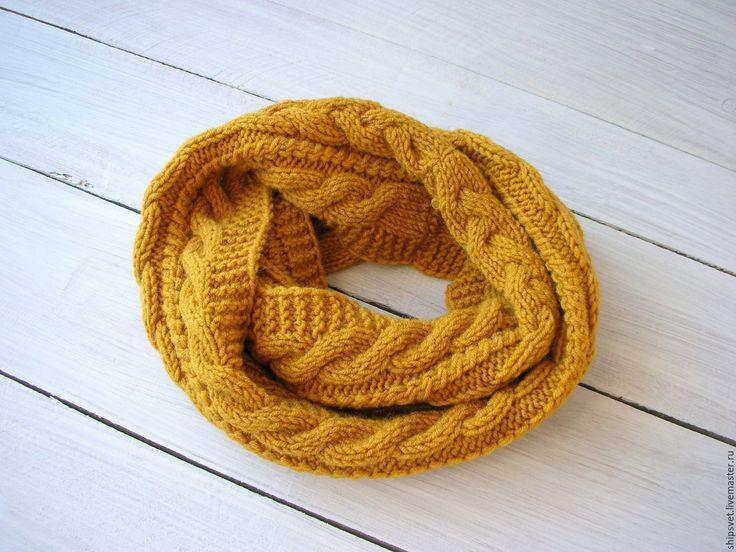 Купить Снуд шарф хомут труба - оранжевый, шарф, хомут, пряжа шерстяная