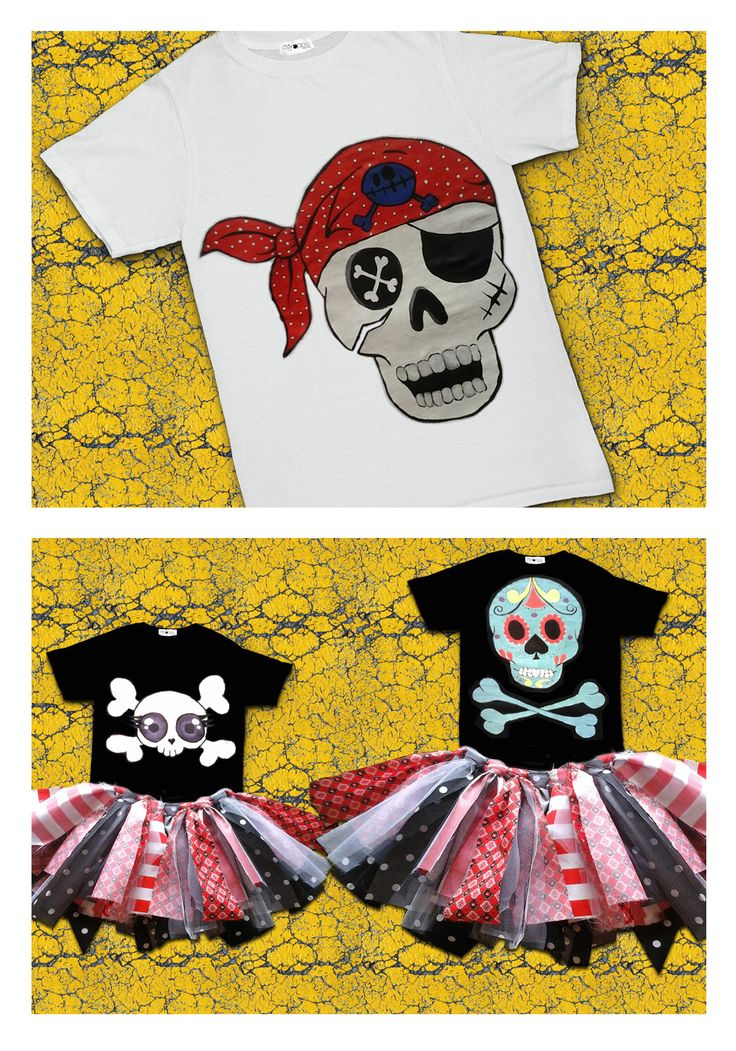 Oogappel Design Studio applies different techniques to create awesome tee's. We experiment with heat transfers, screen printing, appliqué and hand painting, depending on the project. #personalised #hand #painted #tshirt #pirates #sugar #skull #baby #tutu #party #outfit