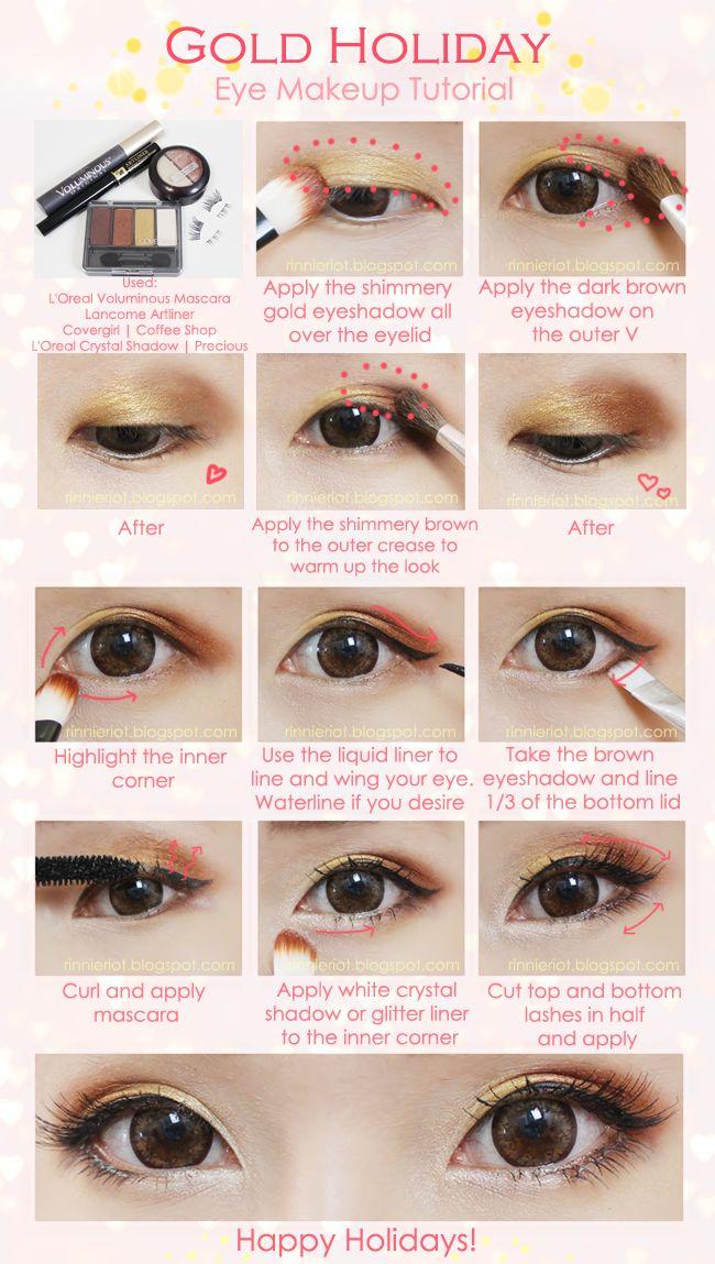 Gold Holiday Eye Makeup Tutorial   http://nerium.kr/preenroll/debbiekrug?alias=debbiekrug  www.AsianSkincare.Rocks