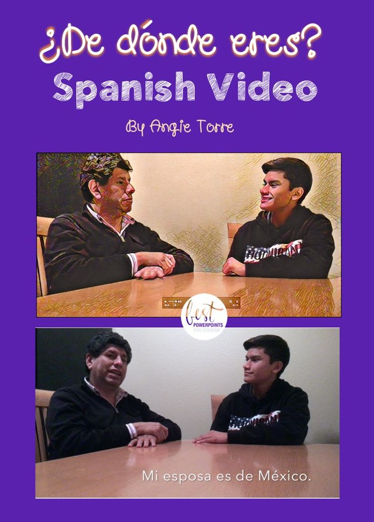 "My Spanish students love videos.  They learned how to ask someone where they are from by watching this, ""¿De dónde eres?"" video of Óscar asking his father where he's from, where his mother and father are from, his wife and children. Óscar and his father speak slowly enough for students to understand while still speaking at a normal pace. Spanish subtitles and visuals aid in comprehension.  Click here to see what else is included."