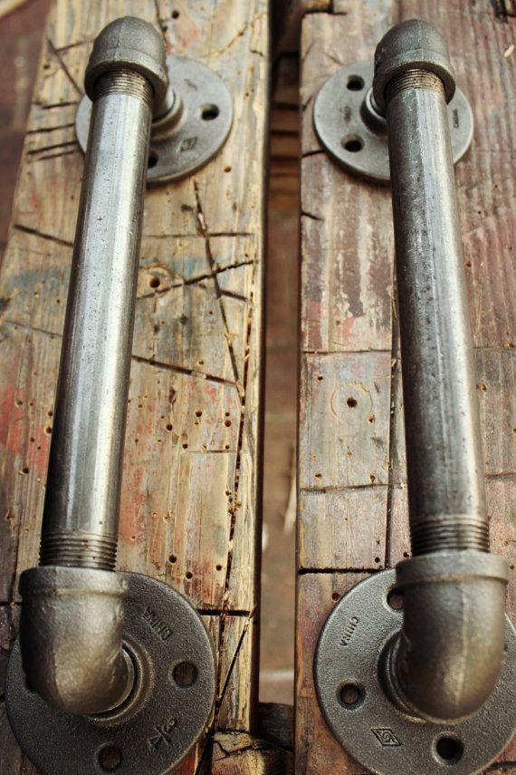 For the sliding barn door. Industrial Door Handles Black Pipe Door pulls by HanorManor