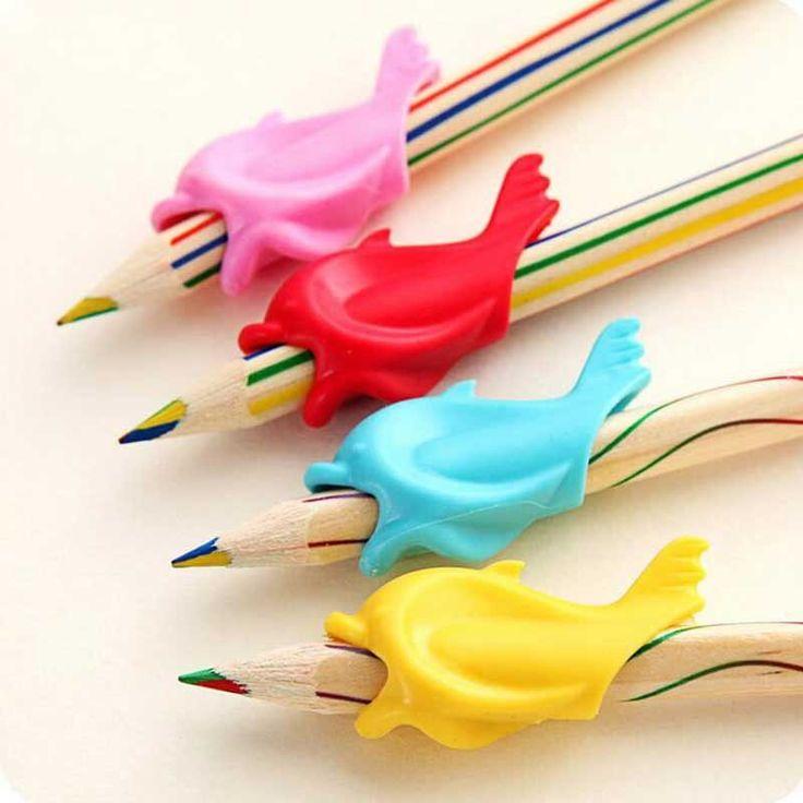 10 pz Un Sacco Di Pesce Delfino Scrittura Dispositivo di Correzione della Postura Per Tenere Una Penna di Correzione Silicone Studente Cancelleria Bambino