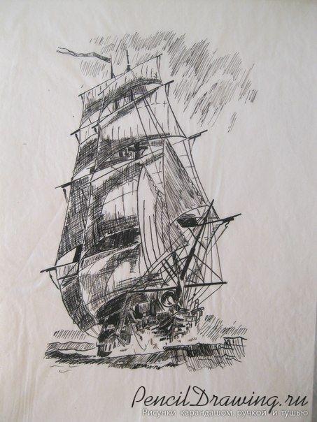 Рисунок корабаля парусника