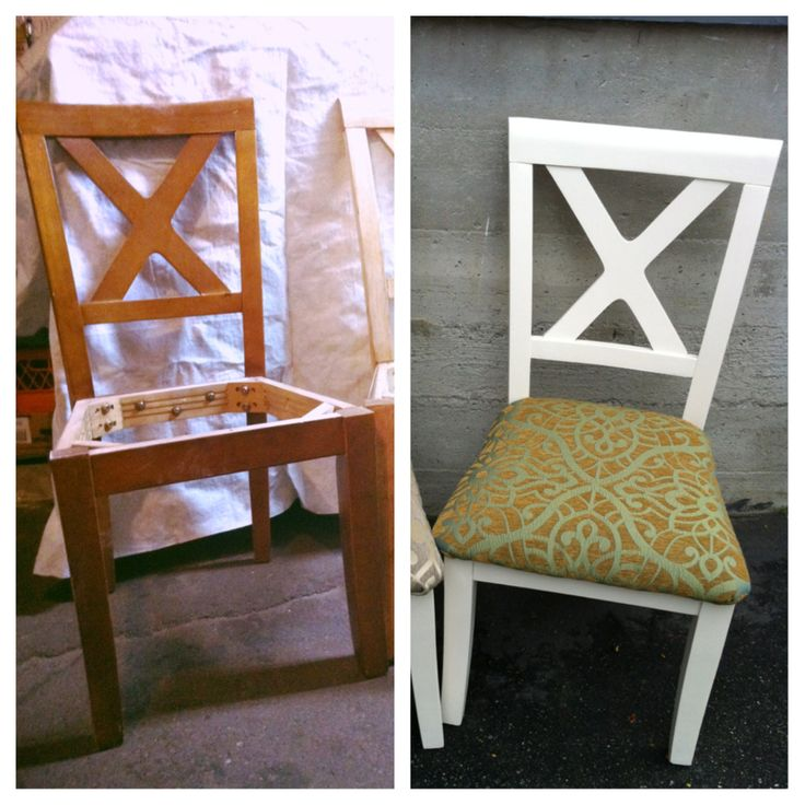 4 dumpster dive chairs and almost free swatches for cushion covers.  Sanded completely, 3 coats flat barrister white and 1coat clear wax.  Use satin or semi gloss next time!