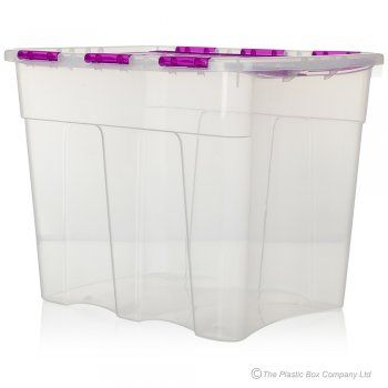 Buy Large 80 Litre Attached Lid Plastic Storage Boxes