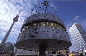 Clock on Alexander platz, the meeting point of east Berlin