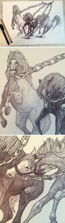графика на тему Подвиги Геракла. подвиг 8. Геракл добывает коней Диомеда.  graphics on the theme of The Labours of Hercules . 8. feat Hercules produces horses of Diomedes .  #graphics  #drawing  #feat #Guchkov   #illustration #horse #chain  #myth #Hercules #idea