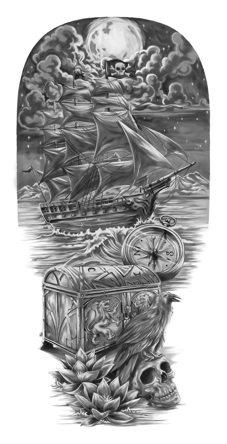 Pirate Tattoo Ideas | Treasure Tattoo Designs Pirates & the lost treasure (full sleeve ...