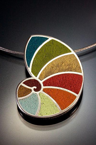 Fibonachi Pendant in Fall Tones: Lou Ann Townsend, Mary Filapek: Polymer Clay Necklace | Artful Home