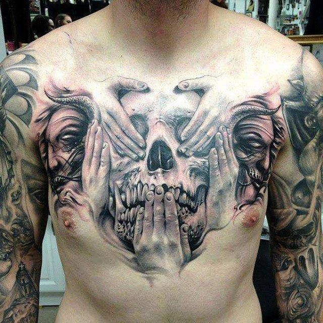 This particular skull puts a new spin on the idea of the - Wicked 3d tattoos ...