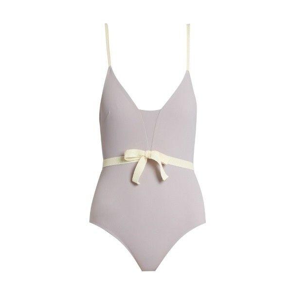 Roxana Salehoun Waist-bow swimsuit (300 AUD) ❤ liked on Polyvore featuring swimwear, one-piece swimsuits, light purple, bow swimwear, bow swim suit, bow swimsuit, swim suits and swimsuit swimwear