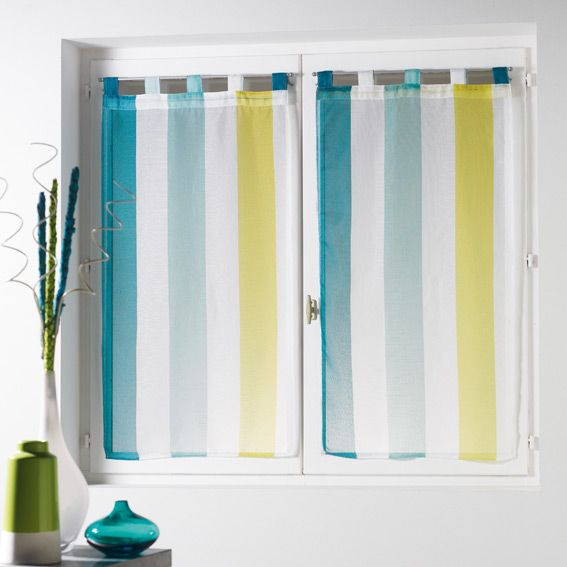 paire de voilages x h cm riviera blanc bleu with voilage saint maclou. Black Bedroom Furniture Sets. Home Design Ideas