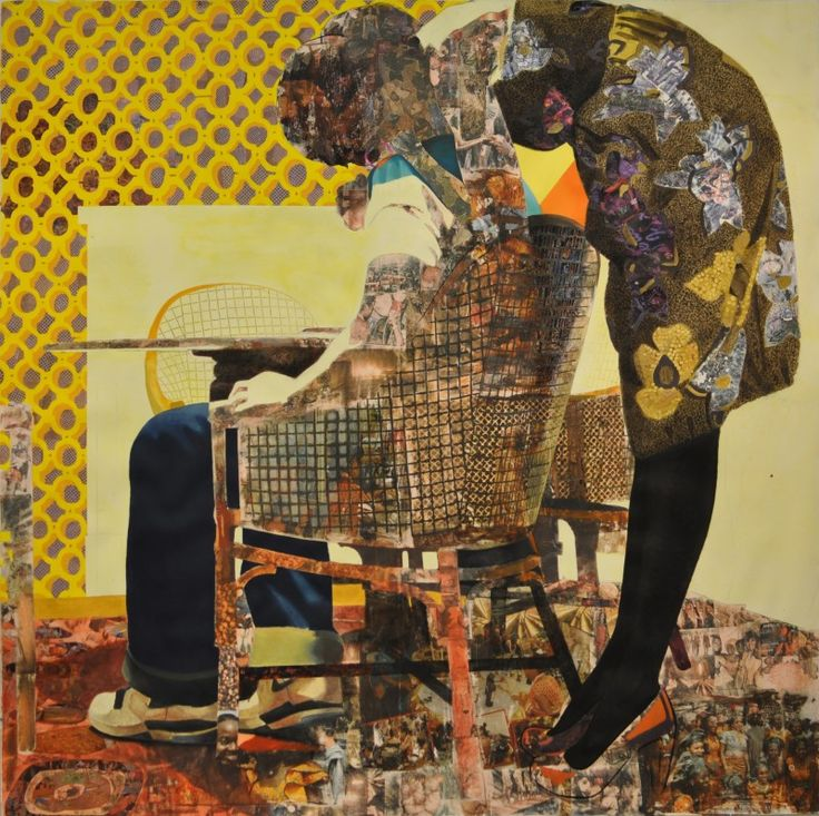 Njideka Akunyili, 2011, charcoal, acrylic, colored pencil, lace, collage and…