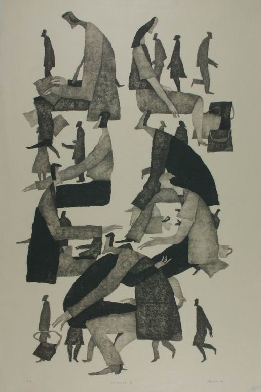 'Men and Women' (2001) woodblock print by Aoki Tetsuo