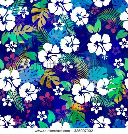 Stock Vector Hawaiian Tropical Floral Seamless Pattern For
