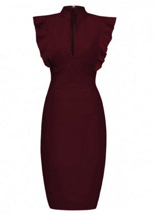 Hybrid Oxblood Frill Deep V-Neckline Dress - FIERCE.