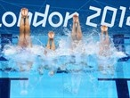 Great Britain competes in the Team Free Routine final