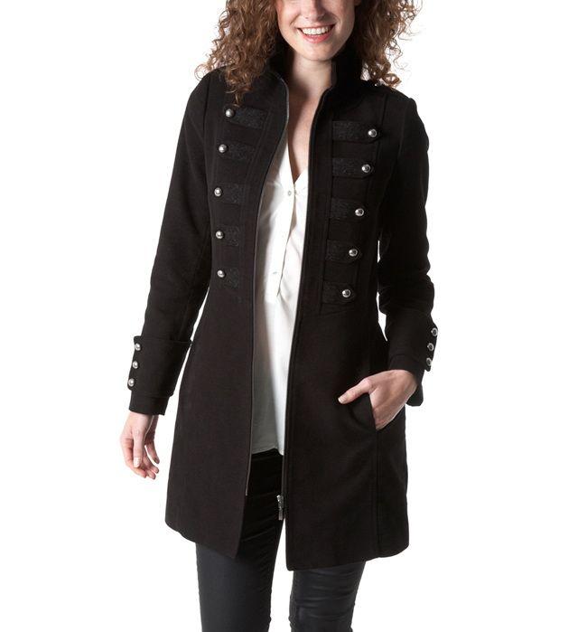 Manteau Officier femme Noir prix promo Promod 109,95 € TTC