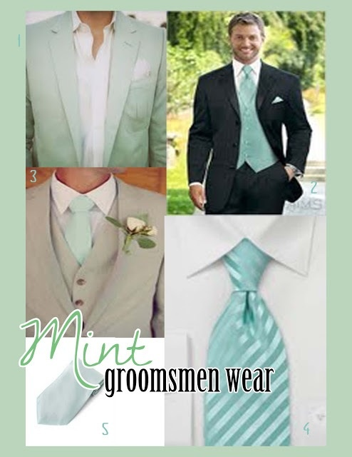 Grey tux and mint green tie. NUMBER 3
