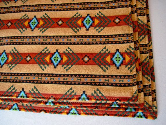 Southwestern Placemats Reversible Brown and by tracystreasuresri, $15.00