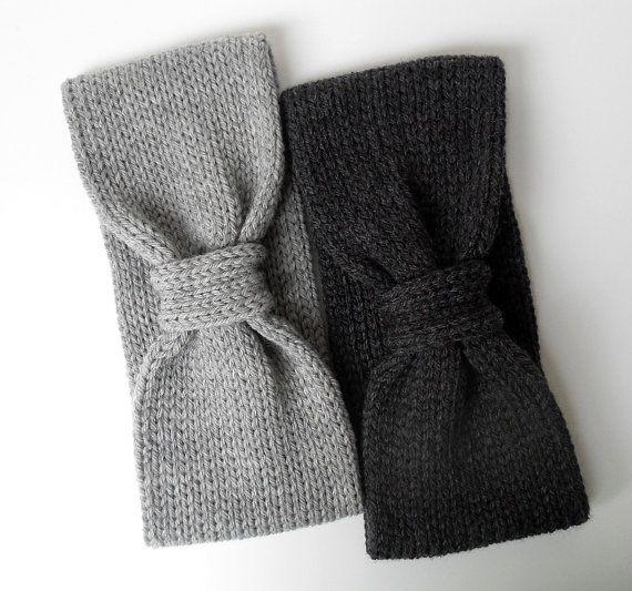 Pure Merino Knit Headband Earwarmer Gray Knit Headband by IRISMINT, $27.00