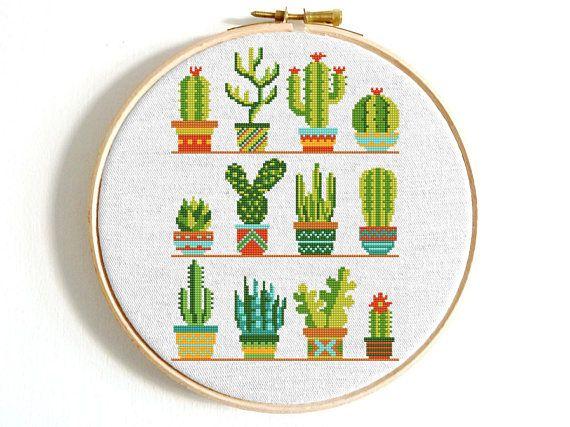 Cactus cross stitch pattern Flower cross stitch sampler Modern